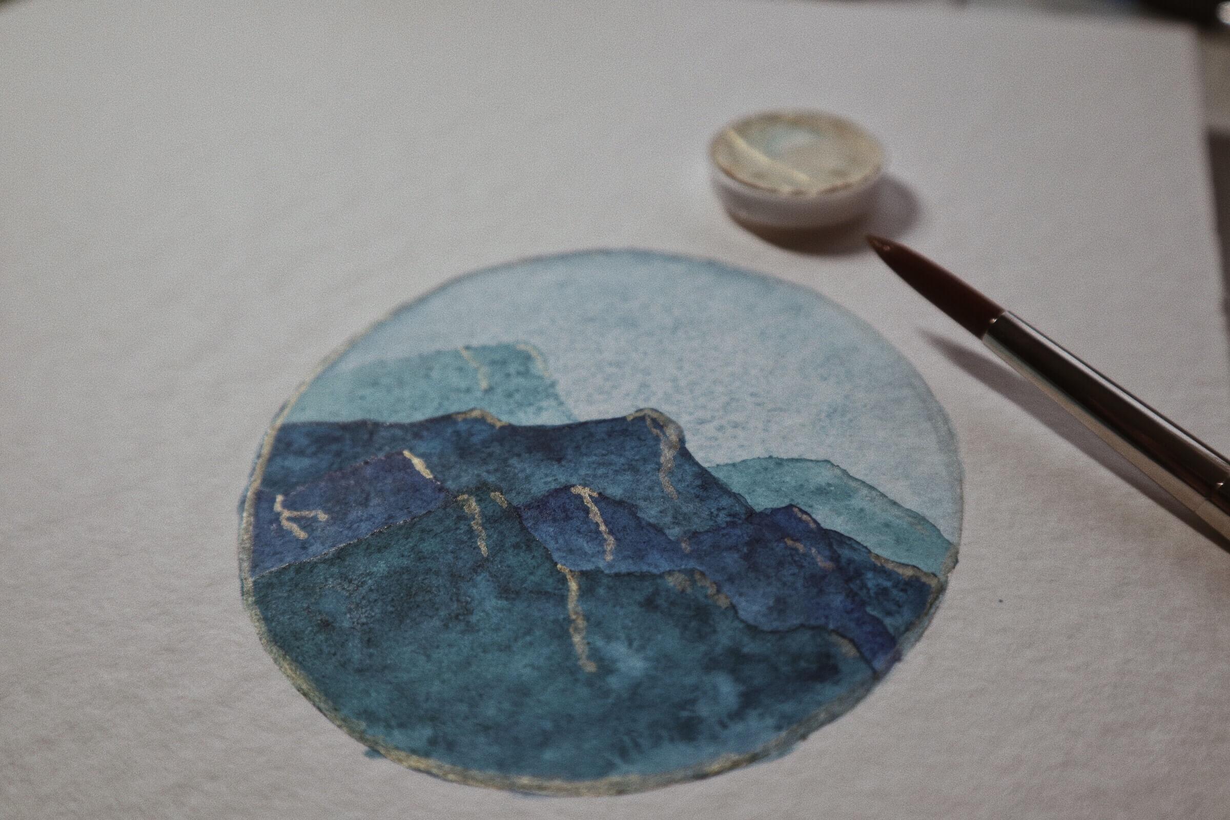 Aquarell Kreis Landschaft Berge