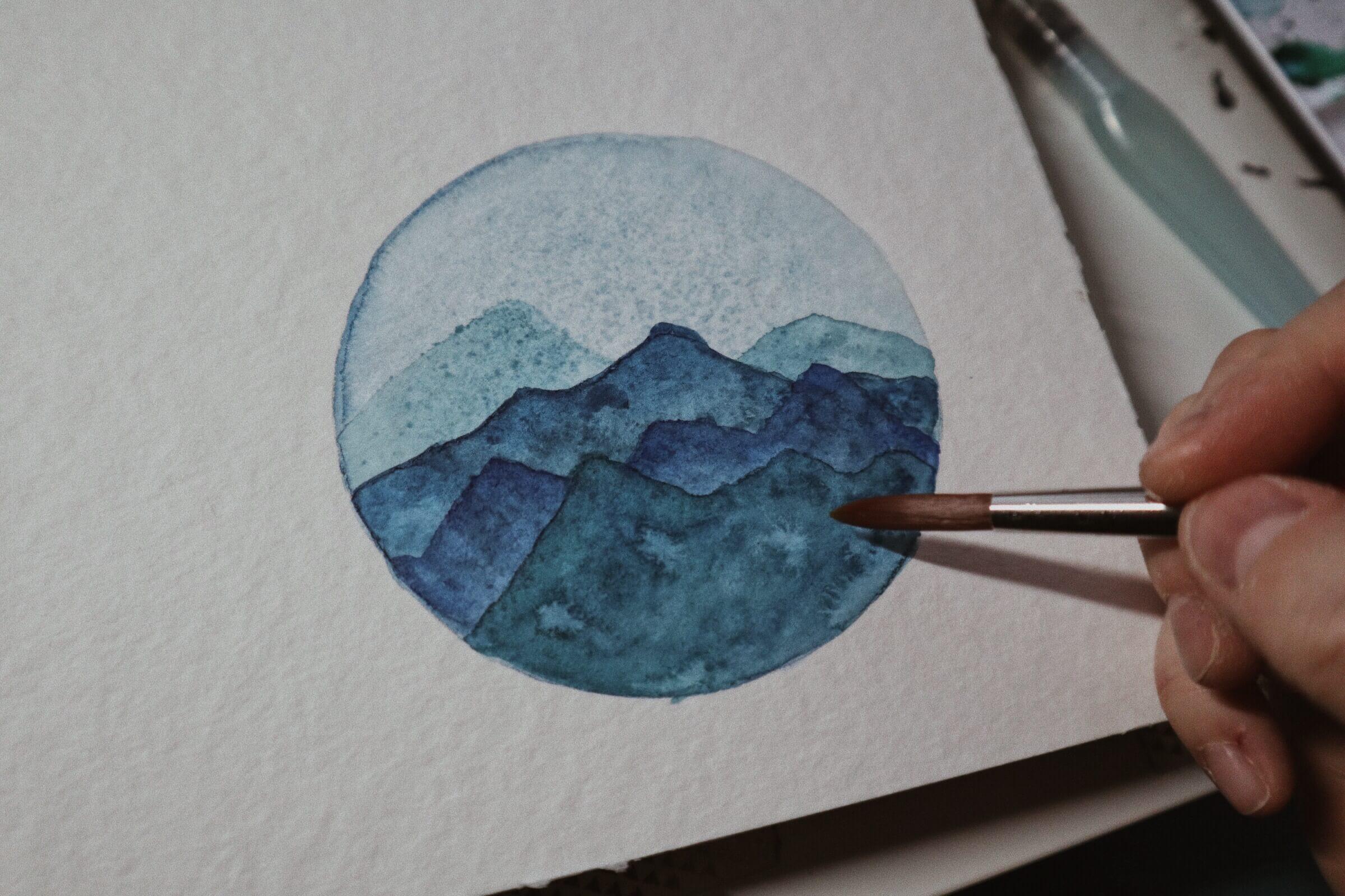 Aquarell-Berglandschaft
