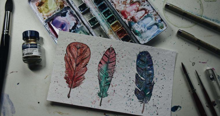 Aquarellbilder – Ganz einfach Federn malen